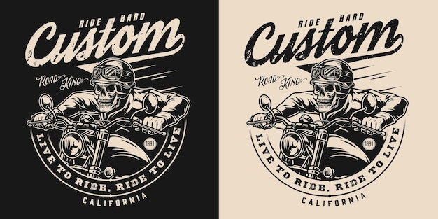 Aangepaste motorfiets vintage zwart-wit label met inscripties en skeleton biker rijden motor op donkere en lichte achtergronden