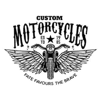 Aangepaste motorfietsen. gevleugelde motor op witte achtergrond. ontwerpelement voor logo, etiket, embleem, teken, poster.
