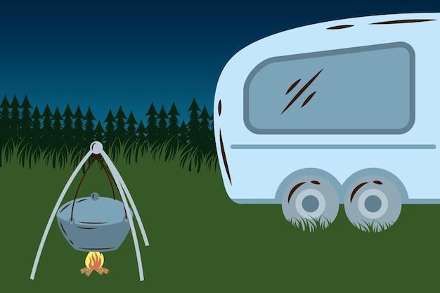 Aanhangwagen camperhuis en pot koken in de kampscène