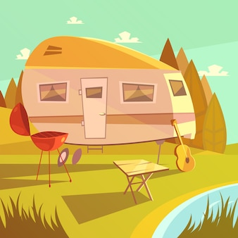 Aanhangwagen en het kamperen beeldverhaalachtergrond met barbecuelijst en gitaar vectorillustratie