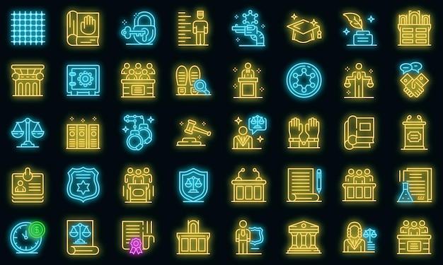 Aanklager pictogrammen instellen. overzicht set van aanklager vector iconen neon kleur op zwart