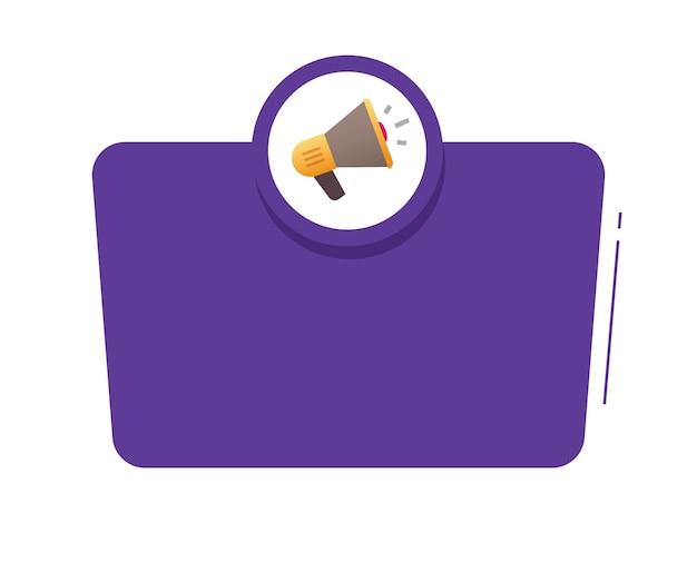 Aankondiging aandacht belangrijke informatie bericht met megafoon luidspreker tekstkader luidspreker waarschuwing
