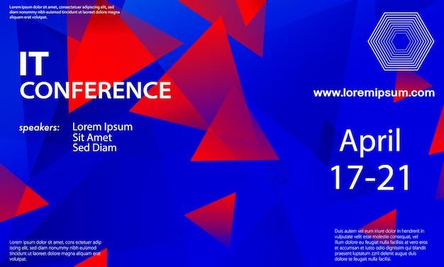 Aankondiging conferentie. seminar ontwerpsjabloon. blauwe, rode kleuren. zakelijke conferentie abstracte dekking. congres kleurrijke verloop poster.