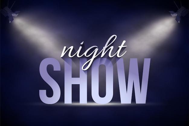 Aankondiging sjabloon voor spandoek night show tekst op de achtergrond van het podium onder blauwe spotlichten