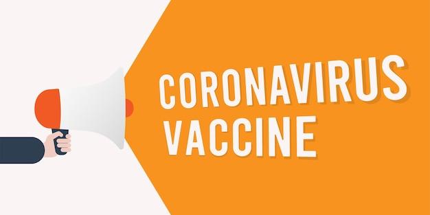 Aankondiging van coronavirusvaccin met megafoon