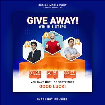 Aankondiging van de winnaar van de winactie van het bedrijf social media post instagram-bannersjabloon
