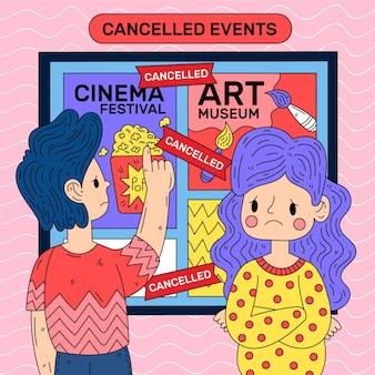 Aankondiging van geannuleerde evenementen