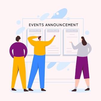 Aankondiging van niet-afgesloten evenementen