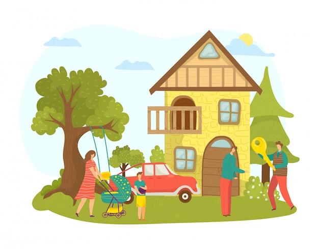 Aankoop of huur van huis onroerend goed voor familie illustratie. vrouw man karakter in de buurt van nieuw onroerend goed gebouw. persoon koopt appartement bij makelaar, handelsagent.