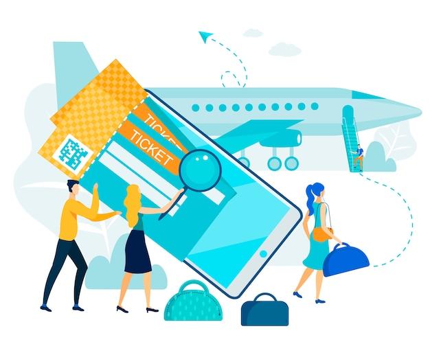 Aankoop van online ticketservice, controleer op vliegtuig.