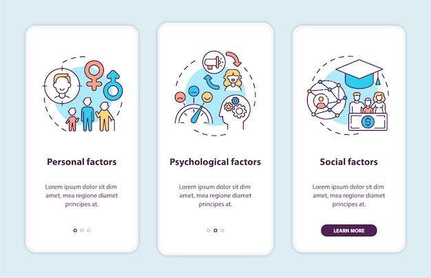 Aankoopbeslissingsfactoren onboarding paginascherm voor mobiele apps met concepten