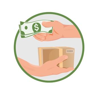 Aankoopconcept - handen met geld en doos