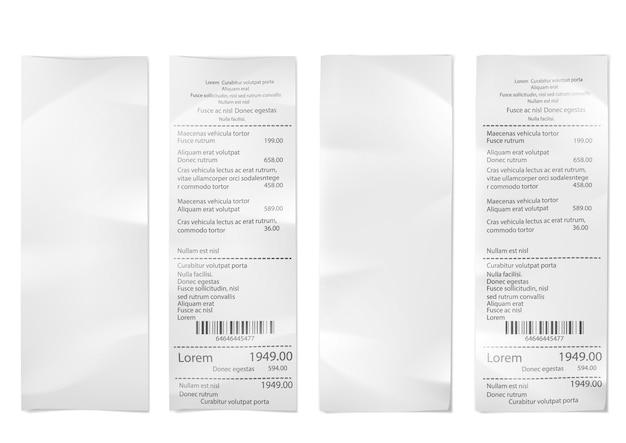 Aankoopfactuur detailhandel. supermarkt winkelen ontvangstbewijs, check winkel verkoop papier. betalingsfactuur facturen bonnen, aankoop in het klein blanco.