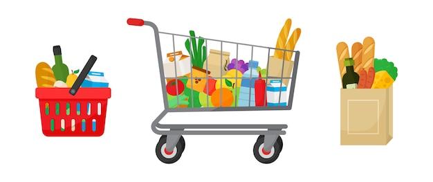 Aankoopset voor boodschappen. winkelmandje en trolley, papieren pakket met producten. voedsel en dranken, groenten en fruit. illustratie