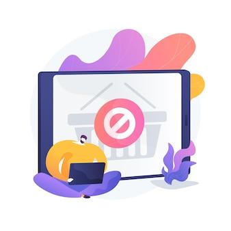 Aankoopverbod, websitefout in de online winkel, aankoop annuleren. onmogelijkheid om bestellingen te plaatsen, kooplimiet, budgetlijn. online koper stripfiguur. vector geïsoleerde concept metafoor illustratie.