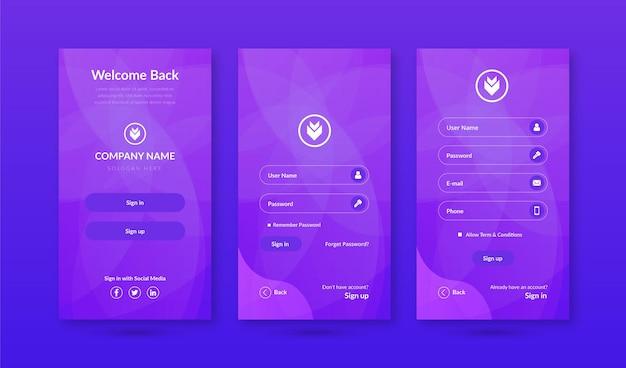 Aanmelden amp aanmeldschermen ui-kit voor sjabloon voor mobiele app