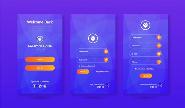 Aanmelden en aanmelden schermen ui kit voor mobiele app-sjabloon