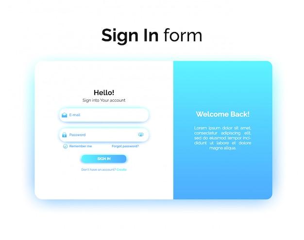 Aanmeldingsformulier, webontwerp ui ux, inloginterface met verloop