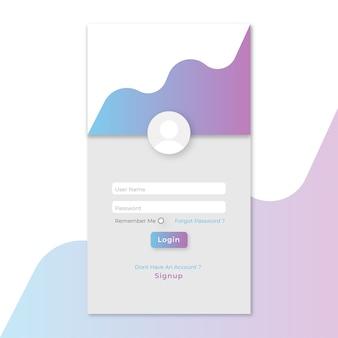 Aanmeldingspagina sjabloon voor mobiele app