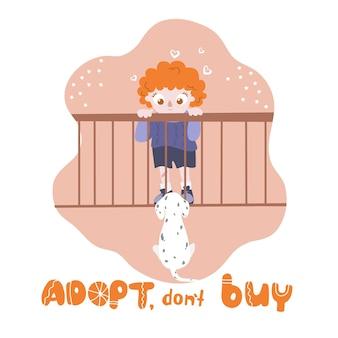 Aannemen, niet kopen. hond in een kooi die de jongen bekijkt. internationale dag voor dakloze dieren.