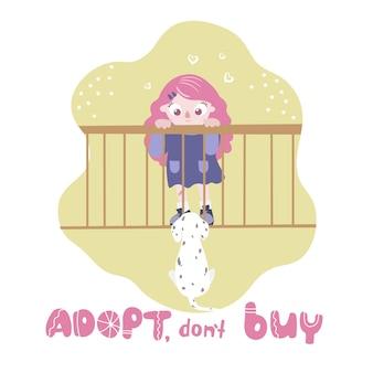 Aannemen, niet kopen. hond in een kooi die het meisje bekijkt. internationale dag voor dakloze dieren.