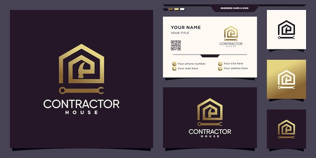 Aannemer en huislogo met tools in lineaire stijl en visitekaartjeontwerp premium vector