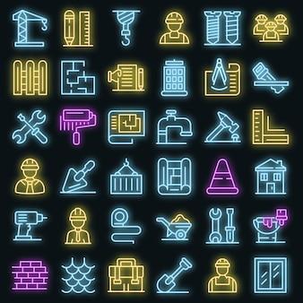 Aannemer pictogrammen instellen. overzicht set aannemer vector iconen neon kleur op zwart