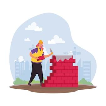 Aannemer werknemer met bakstenen muur characterdesign vector illustratie
