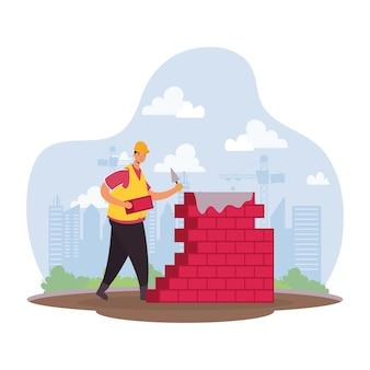 Aannemer werknemer met bakstenen muur karakter scène vector illustratie ontwerp