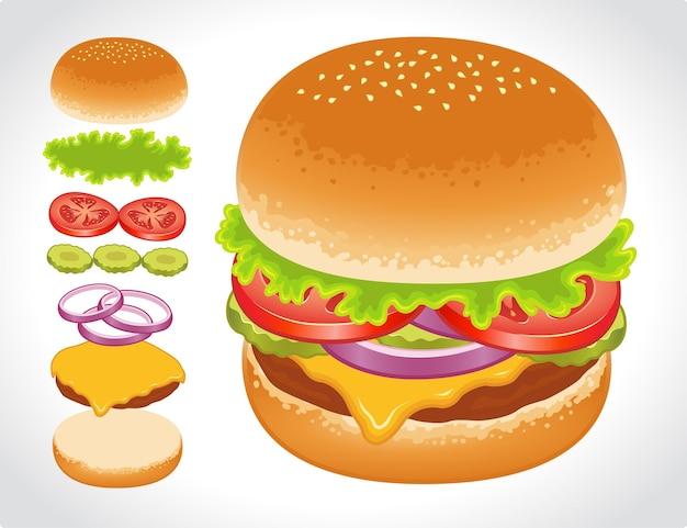 Aanpasbare hamburger-ingrediënten