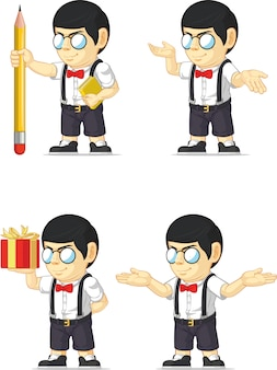 Aanpasbare mascotte nerd boy