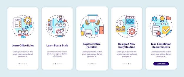 Aanpassingstips voor beginners bij het onboarding van het paginascherm van de mobiele app met concepten. werkplek betreden. verantwoordelijkheden doorloopstappen. ui-sjabloonillustraties