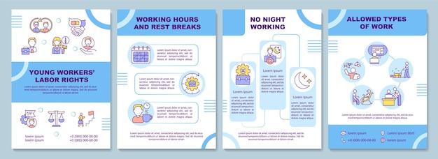 Aanpassingstips voor werknemers brochure sjabloon. oriëntatie op nieuwe werknemers. flyer, boekje, folder, omslagontwerp met lineaire pictogrammen. lay-outs voor tijdschriften, jaarverslagen, reclameposters