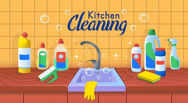 Aanrecht met schone vaat.schone keuken. een concept voor schoonmaakbedrijven.flat cartoon vectorillustratie.