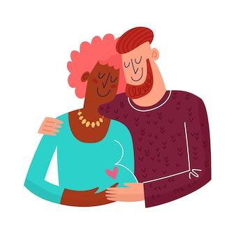 Aanstaande ouders knuffelen. wacht op een baby. gelukkige zwangerschapsscène. plat schattig