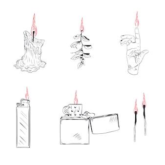 Aansteker sigarettenaansteker met vuur of vlamlicht om sigarettenillustratie te branden reeks brandbare rookapparatuur