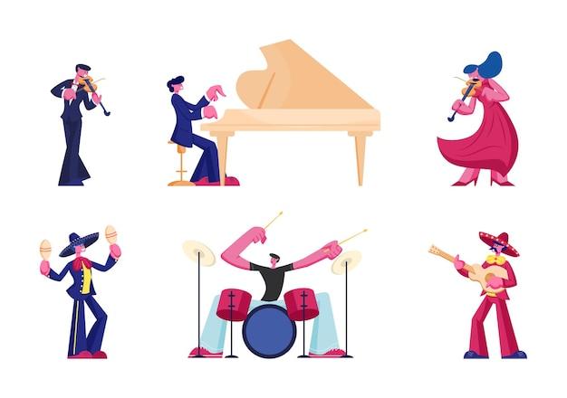 Aantal artiesten en muzikanten geïsoleerd op een witte achtergrond. cartoon vlakke afbeelding