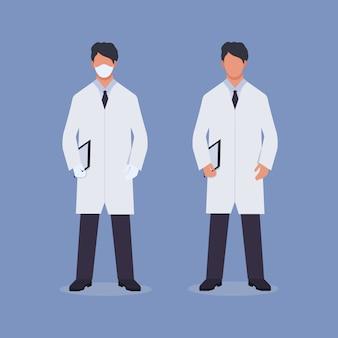 Aantal artsen in masker en handschoenen op een geïsoleerde blauwe achtergrond. gezondheid en medisch concept. arts en assistent voor applicatie- en websiteontwerp. voorraadafbeeldingen, vlakke stijl.