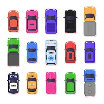 Aantal auto's en vrachtwagens bovenaanzicht geïsoleerd op wit