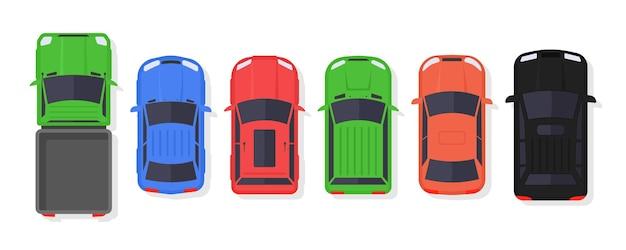 Aantal auto's en vrachtwagens bovenaanzicht in vlakke stijl