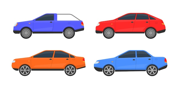 Aantal auto's van verschillende kleuren. een groot aantal verschillende automodellen. stads-, stadsauto's en voertuigenvervoer.