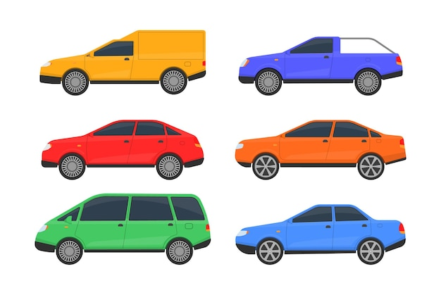 Aantal auto's van verschillende kleuren geïsoleerd op wit