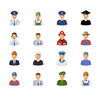 Aantal avatars van mannen met beroepen.