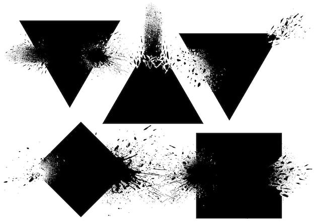 Aantal badges met inkt spatten vector
