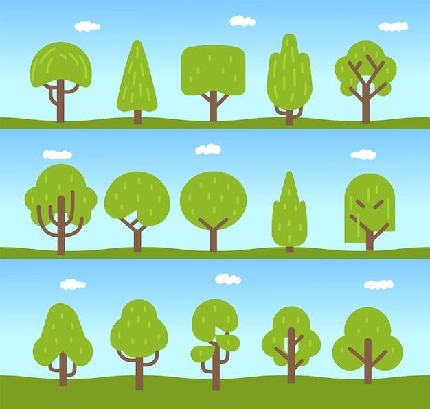 Aantal bomen. boom iconen collectie in een moderne platte stijl. voor het ontwerp van architecturale composities, organisch eco-symbool, cartoon vector geïsoleerde illustratie
