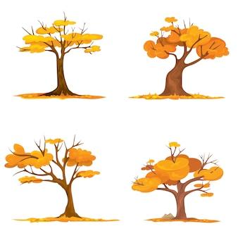 Aantal bomen met vallende bladeren. illustratie van de vroege herfst.