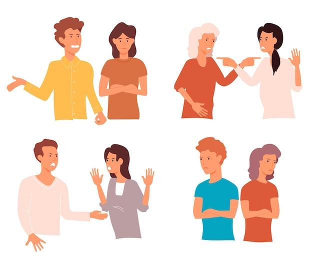 Aantal boze mensen. agressieve mannen en vrouwen discussiëren.