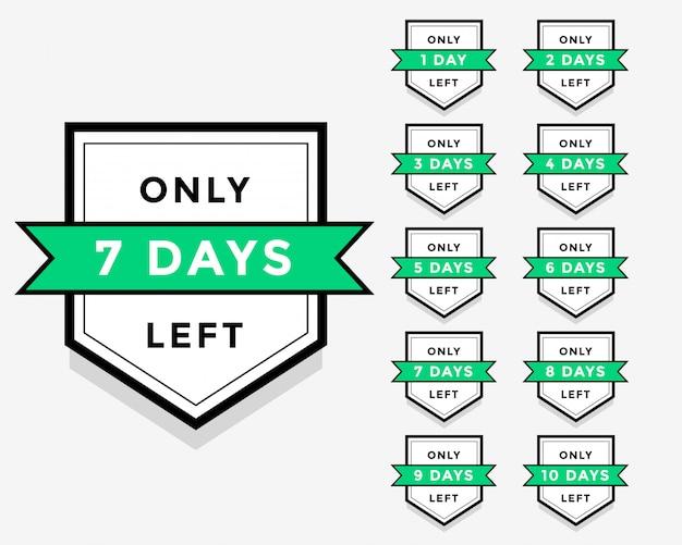 Aantal dagen links label badge of sticker ontwerp