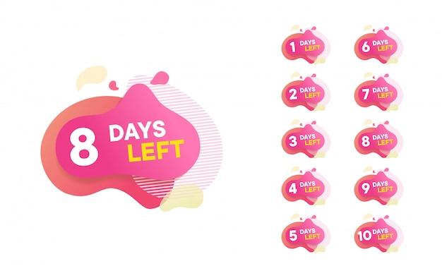 Aantal dagen overgebleven countdown illustratie sjabloon, kan worden gebruikt voor promotie, verkoop, bestemmingspagina, sjabloon, ui, web, mobiele app, poster, banner, flyer