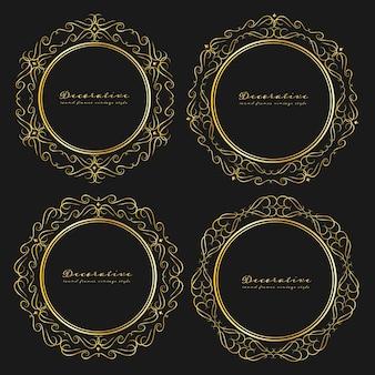 Aantal decoratieve ronde frames vintage stijl.